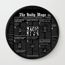 The Daily Mage Fantasy Newspaper II Wall Clock