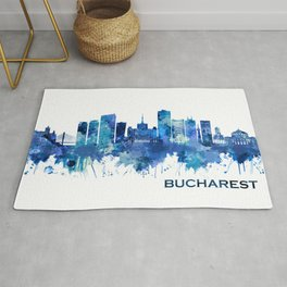 Bucharest Romania Skyline Blue Rug