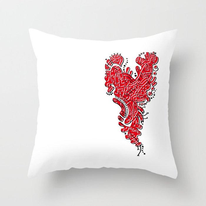 Cell Heart Throw Pillow