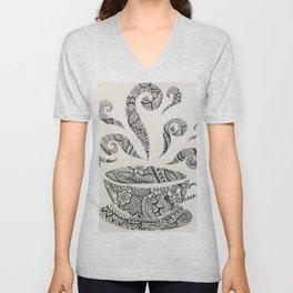 But first, Tea - tea coffee lover zentangle Unisex V-Neck