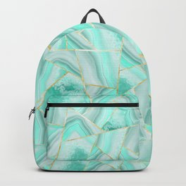 Soft Turquoise Agate Gold Geometric Summer Glam #1 #geo #decor #art #society6 Backpack