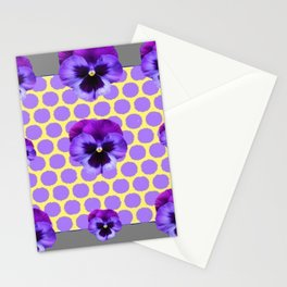 PURPLE SPRING PANSIES  LILAC POLKA DOT  PATTERN Stationery Cards