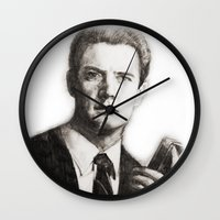 dale cooper Wall Clocks featuring TWIN PEAKS - AGENT COOPER by William Wong