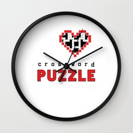 I Love Crossword Puzzle Geek Numbered Squares Puzzlers Thinking Gift Wall Clock