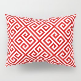 red, white pattern, Greek Key pattern -  Greek fret design Pillow Sham
