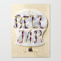 sylvia plath Canvas Prints featuring The Bell Jar by Sylvia Plath Book Cover by Erin Maala