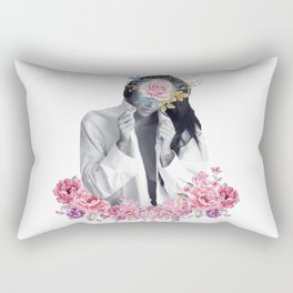Flower woman portrait Rectangular Pillow