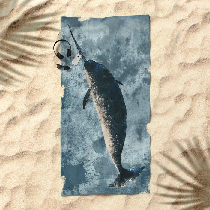 """Jackson the Narwhal"" by Amber Marine ~ Art (Copyright 2015) Beach Towel"
