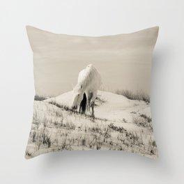 Wild Horses 7 - Black and White Throw Pillow