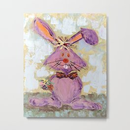 Bunny with a bouquet Metal Print