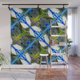 ART NOUVEAU FLYING GREEN PARROT  PEACOCK FEATHER WHITE ART Wall Mural