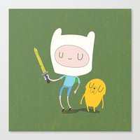 finn and jake Canvas Prints featuring Finn & Jake by Rod Perich