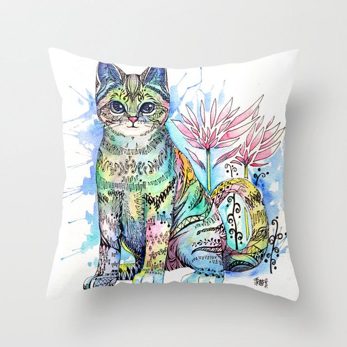 Rainbow Cat with water lily Throw Pillow