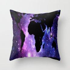 World Map Galaxy  Throw Pillow