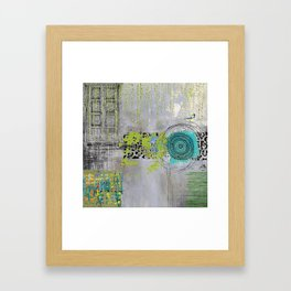Teal & Lime Round Abstract Art Collage Framed Art Print