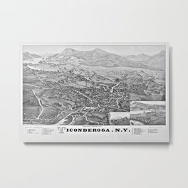 Ticonderoga Map 1884 Metal Print
