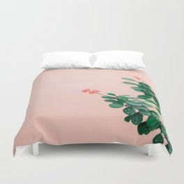 Floral photography print | Green on coral | Botanical photo art Duvet Cover
