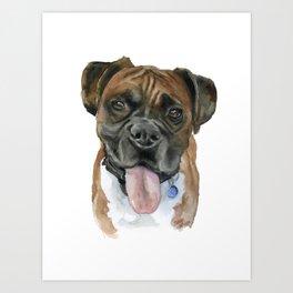 Boxer Dog Portrait Watercolor Art Print