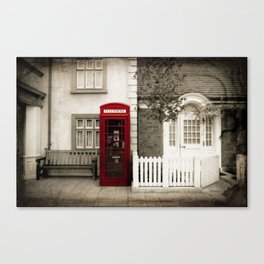 Red Telephone Booth Sepia Spot Color Photography Canvas Print