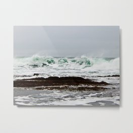 Green Wave Breaking Metal Print