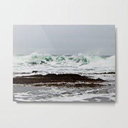 Green Wave Breaking Metal Print
