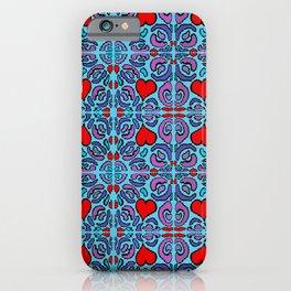 Heart Mosaic Blue iPhone Case