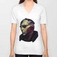 mass effect V-neck T-shirts featuring Mass Effect: Thane Krios by Ruthie Hammerschlag