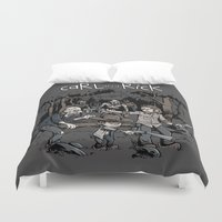 hobbes Duvet Covers featuring Carl and Rick by Six Eyed Monster