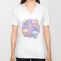 pastel goth V-neck T-shirts featuring Pastel Skulls by Tumbling Tortoises