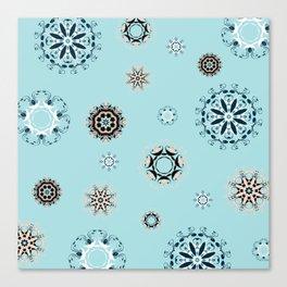 Blue Mandala, Pattern, Digital Design, Shapes Canvas Print