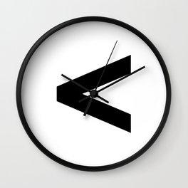 Less-Than Sign (Black & White) Wall Clock