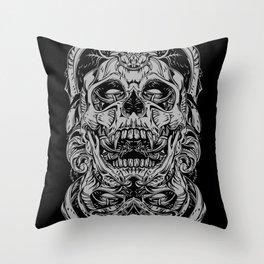2 FACES SKULL Throw Pillow
