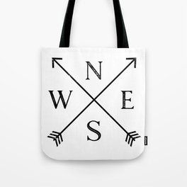Black and White Compass Tote Bag