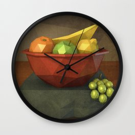 Low-polygon style still life painting Wall Clock