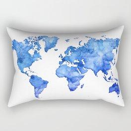 Cobalt blue watercolor world map Rectangular Pillow