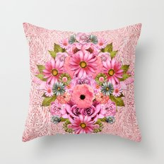 Pink Flourish Throw Pillow