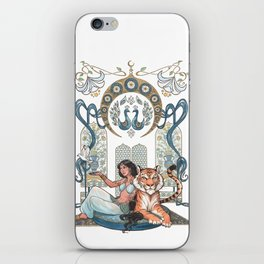 Every Girl Is A Princess 03: Arabian Nights Art Nouveau Aladdin's Princess Jasmine and Rajah iPhone Skin