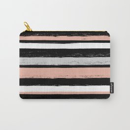 Stripes - Peach Grey Black White Carry-All Pouch