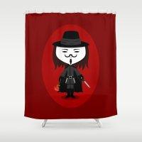 vendetta Shower Curtains featuring Vendetta by Sombras Blancas Art & Design