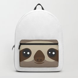 funny and cute smiling Three-toed sloth on brown background Backpack