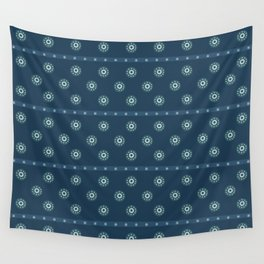 Blue Circles on Blue Wall Tapestry