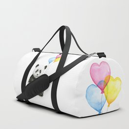 Panda with Yellow Balloon Baby Animal Watercolor Nursery Art Duffle Bag