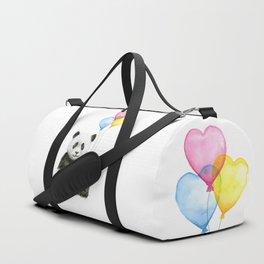 Panda with Yellow Balloon Baby Animal Watercolor Nursery Art Duffle Bag
