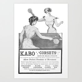 Ping-pong played in corsets, 1902 Art Print
