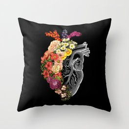 Flower Heart Spring Throw Pillow