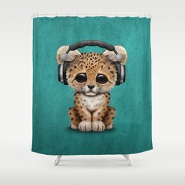 Cute Leopard Cub Dj Wearing Headphones on Blue Shower Curtain