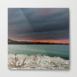 Sunset on the riverside Metal Print