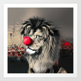 Circus Lion Clown Art Print