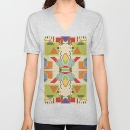 Abstract artistic geometric seamless pattern. Colorful design. Colored geometric shapes, figures. Modern art background Unisex V-Neck