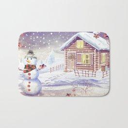 Christmas scene with snowman and house Bath Mat